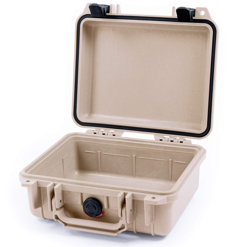 Pelican 1200 Case, Desert Tan with Black Handle & Latches - Pelican Color Case