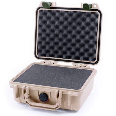 Pelican 1200 Case, Desert Tan with OD Green Handle & Latches - Pelican Color Case