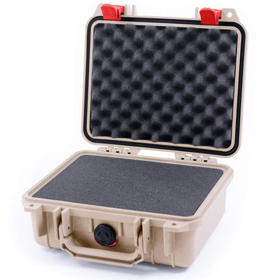 Pelican 1200 Case, Desert Tan with Red Handle & Latches - Pelican Color Case