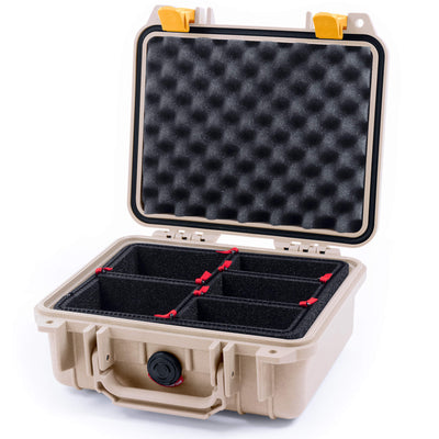 Pelican 1200 Case, Desert Tan with Yellow Handle & Latches - Pelican Color Case