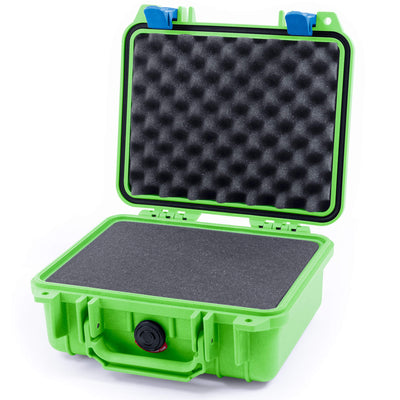 Pelican 1200 Case, Lime Green with Blue Handle & Latches - Pelican Color Case