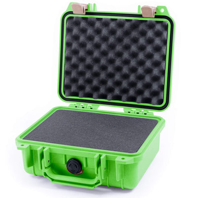 Pelican 1200 Case, Lime Green with Desert Tan Handle & Latches - Pelican Color Case