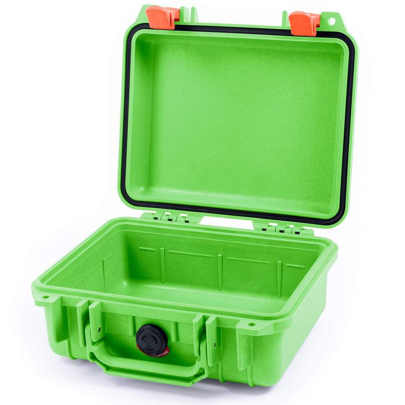 Pelican 1200 Case, Lime Green with Orange Handle & Latches - Pelican Color Case