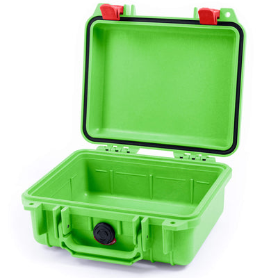 Pelican 1200 Case, Lime Green with Red Handle & Latches - Pelican Color Case
