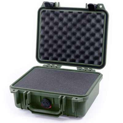 Pelican 1200 Case, OD Green with Black Handle & Latches - Pelican Color Case