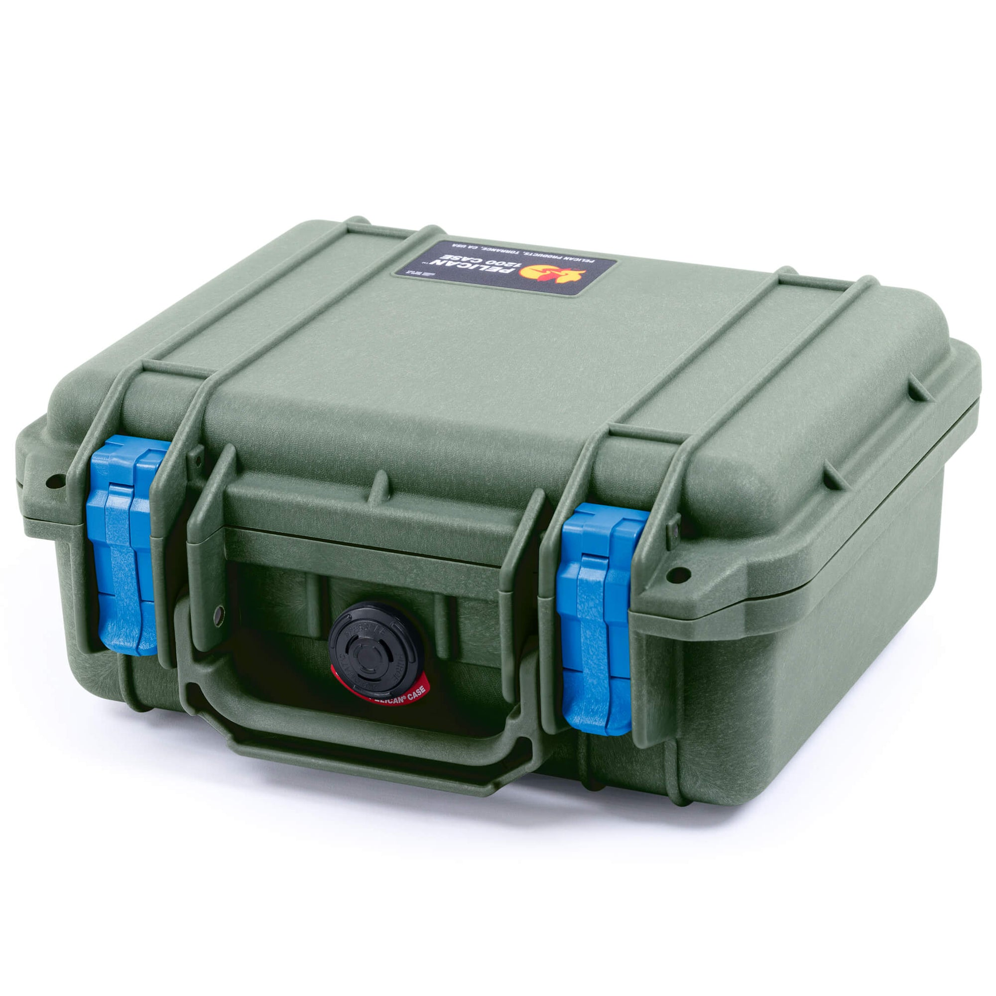 Pelican 1200 Case, OD Green with Blue Handle & Latches - Pelican Color Case