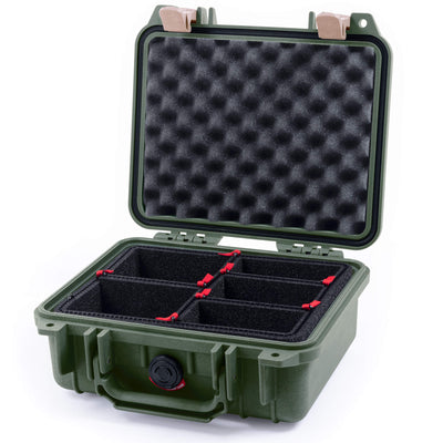 Pelican 1200 Case, OD Green with Desert Tan Handle & Latches - Pelican Color Case