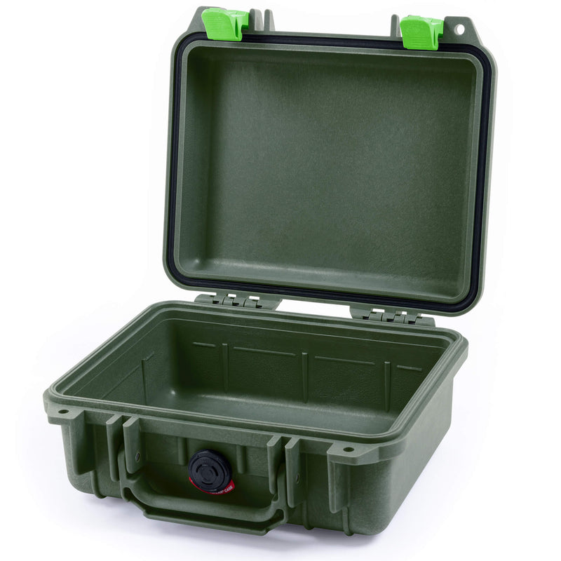 Pelican 1200 Case, OD Green with Lime Green Handle & Latches - Pelican Color Case