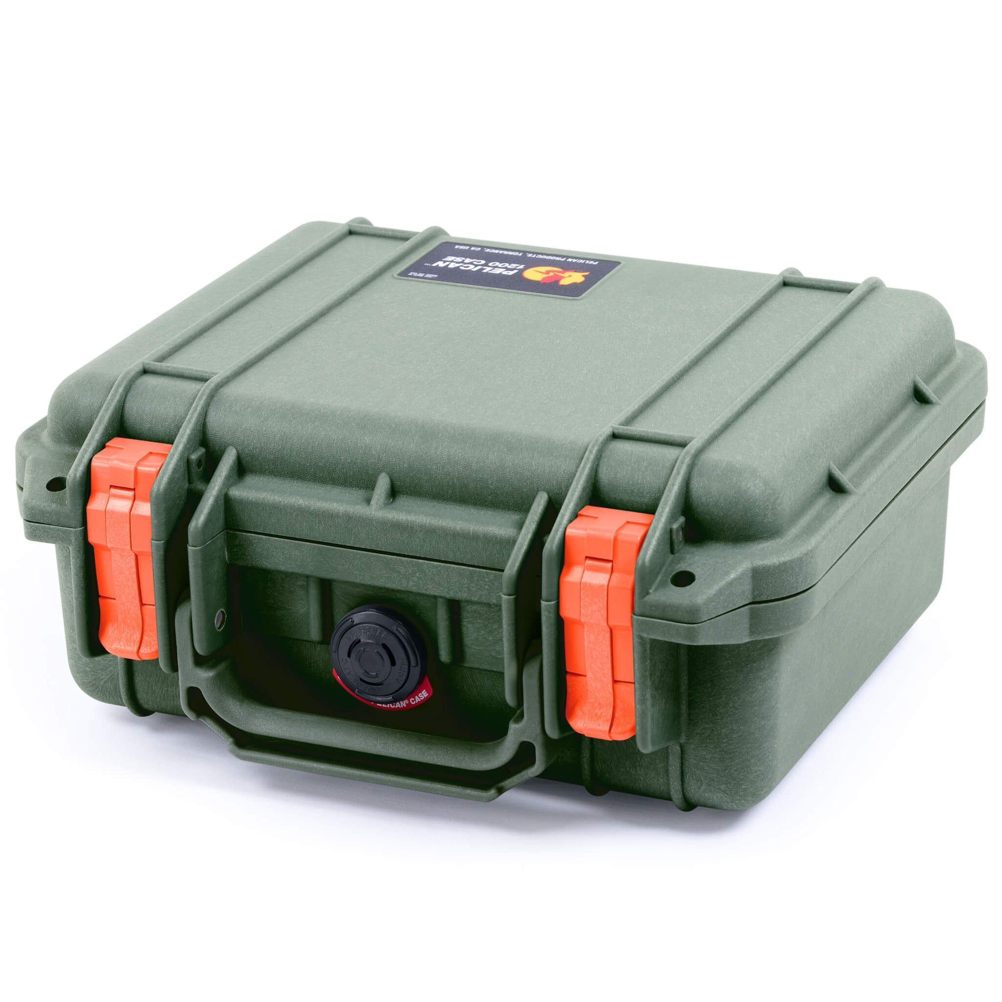Pelican 1200 Case, OD Green with Orange Handle & Latches