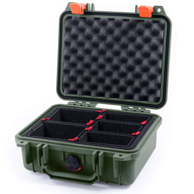 Pelican 1200 Case, OD Green with Orange Handle & Latches - Pelican Color Case