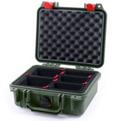 Pelican 1200 Case, OD Green with Red Handle & Latches - Pelican Color Case