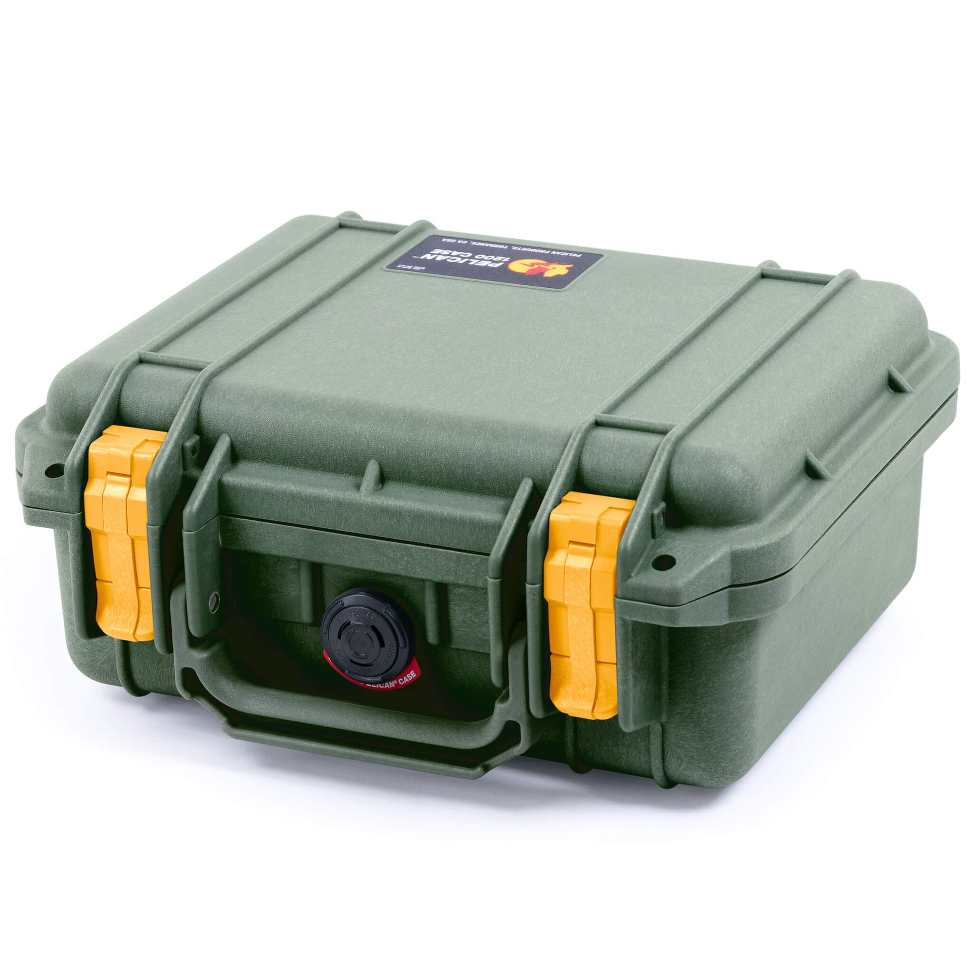 Pelican 1200 Case, OD Green with Yellow Handle & Latches - Pelican Color Case