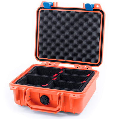 Pelican 1200 Case, Orange with Blue Handle & Latches - Pelican Color Case