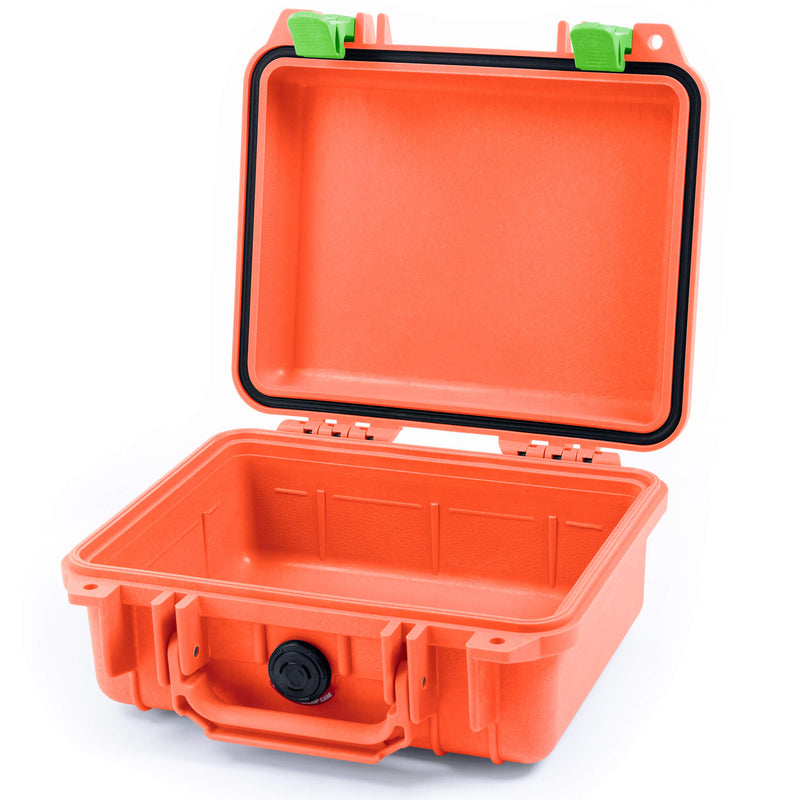 Pelican 1200 Case, Orange with Lime Green Handle & Latches - Pelican Color Case