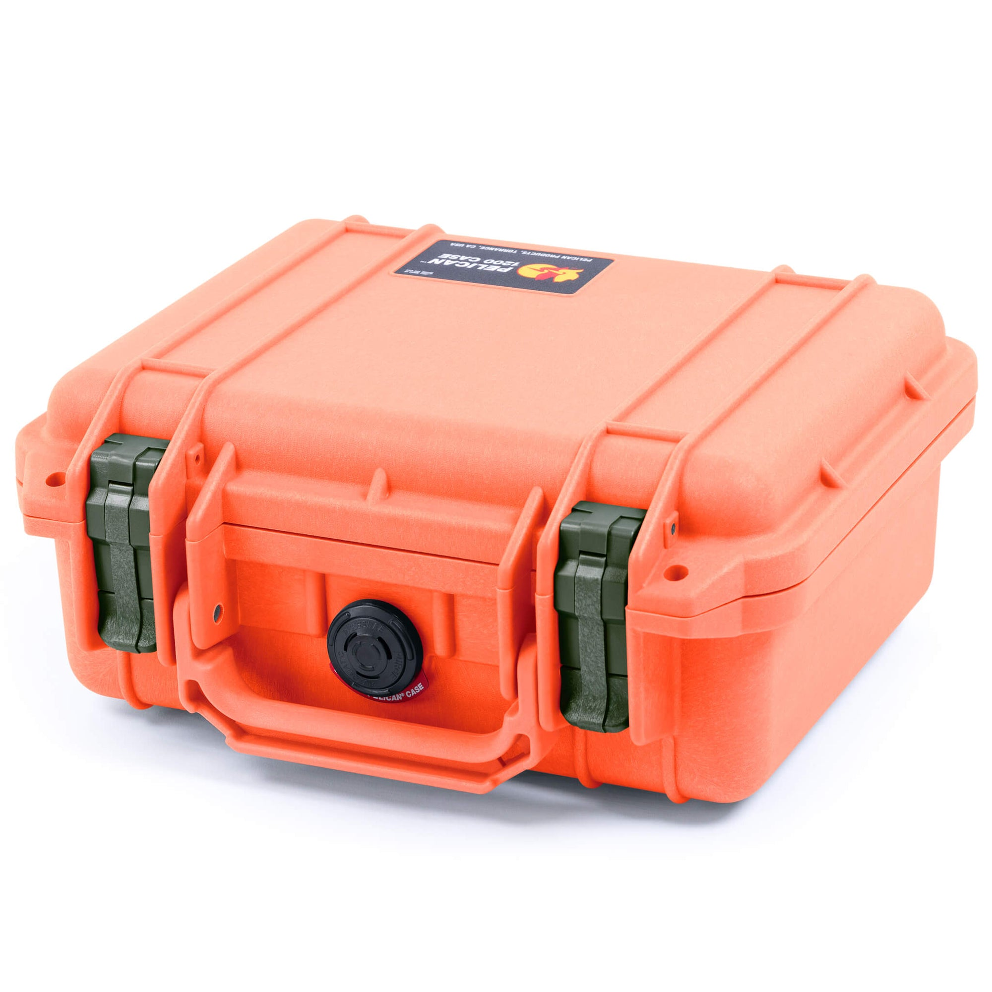Pelican 1200 Case, Orange with OD Green Handle & Latches