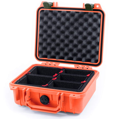 Pelican 1200 Case, Orange with OD Green Handle & Latches - Pelican Color Case