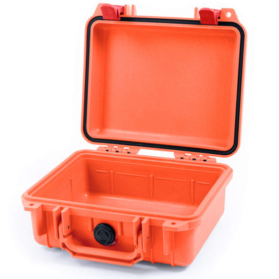 Pelican 1200 Case, Orange with Red Handle & Latches - Pelican Color Case