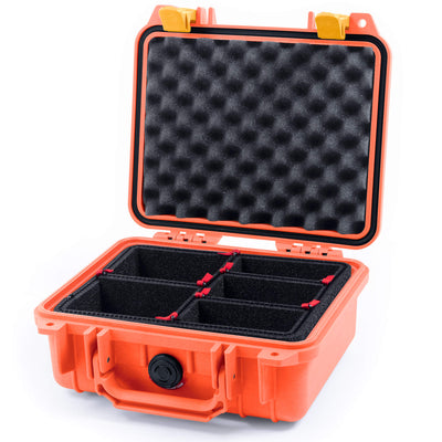 Pelican 1200 Case, Orange with Yellow Handle & Latches - Pelican Color Case