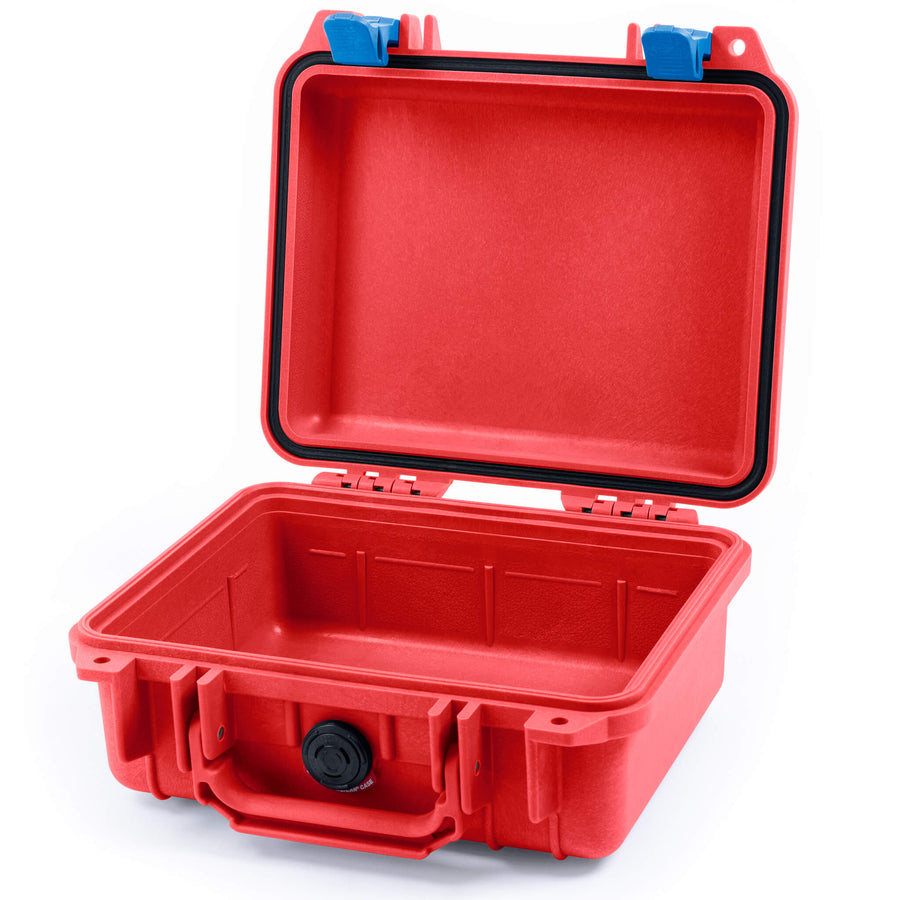 Pelican 1200 Case, Red with Blue Handle & Latches