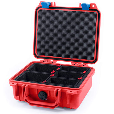Pelican 1200 Case, Red with Blue Handle & Latches - Pelican Color Case