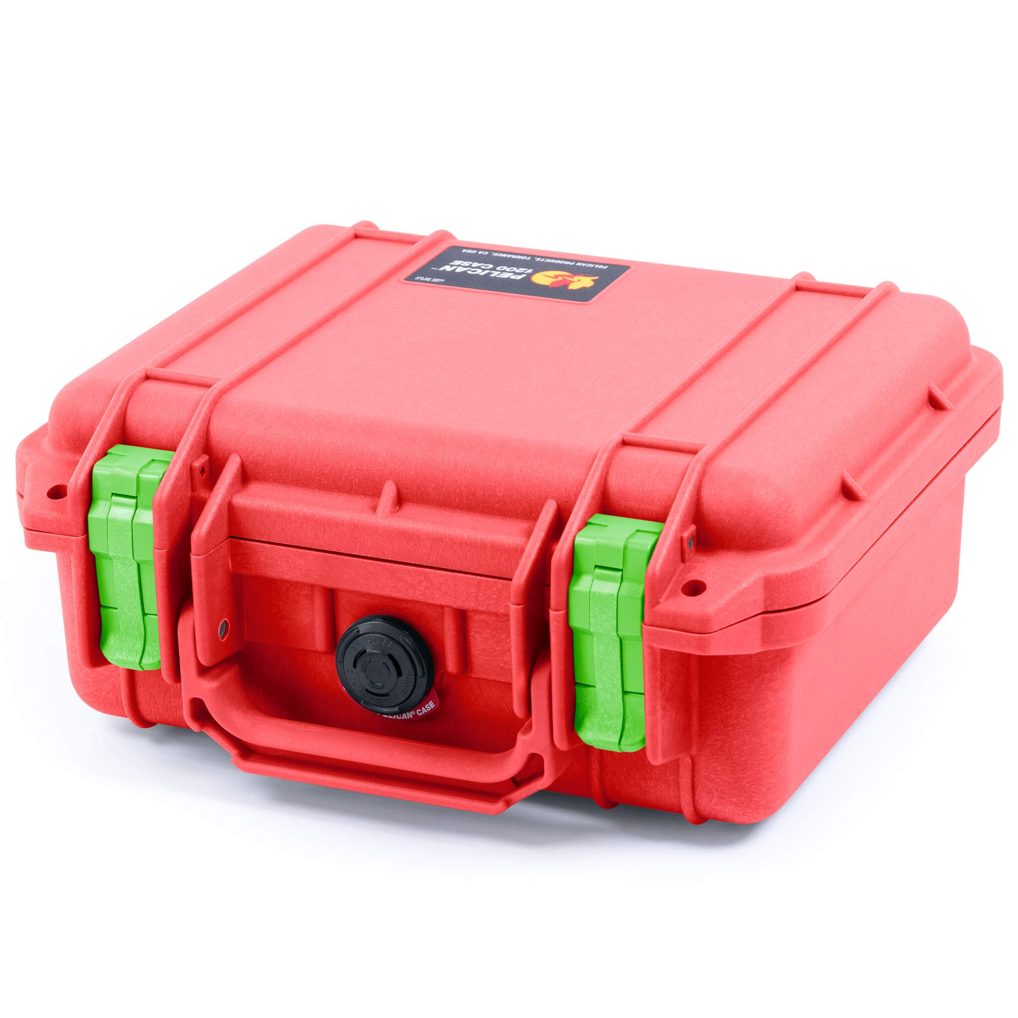 Pelican 1200 Case, Red with Lime Green Handle & Latches - Pelican Color Case