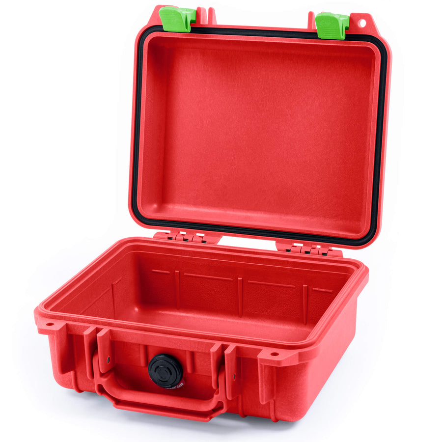 Pelican 1200 Case, Red with Lime Green Handle & Latches