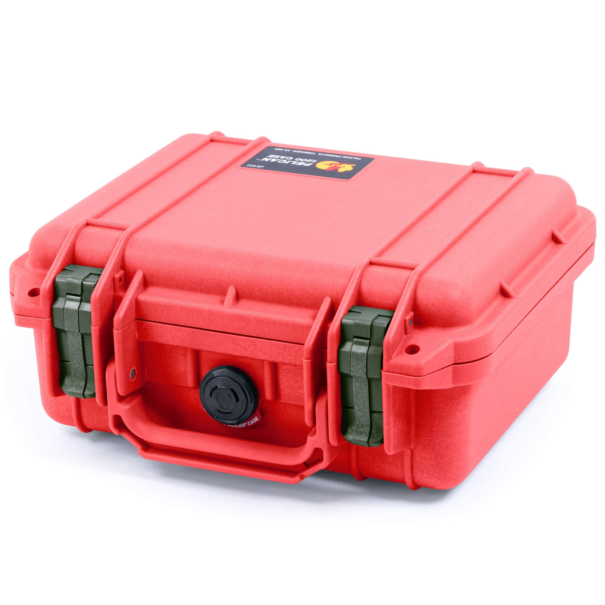 Pelican 1200 Case, Red with OD Green Handle & Latches - Pelican Color Case