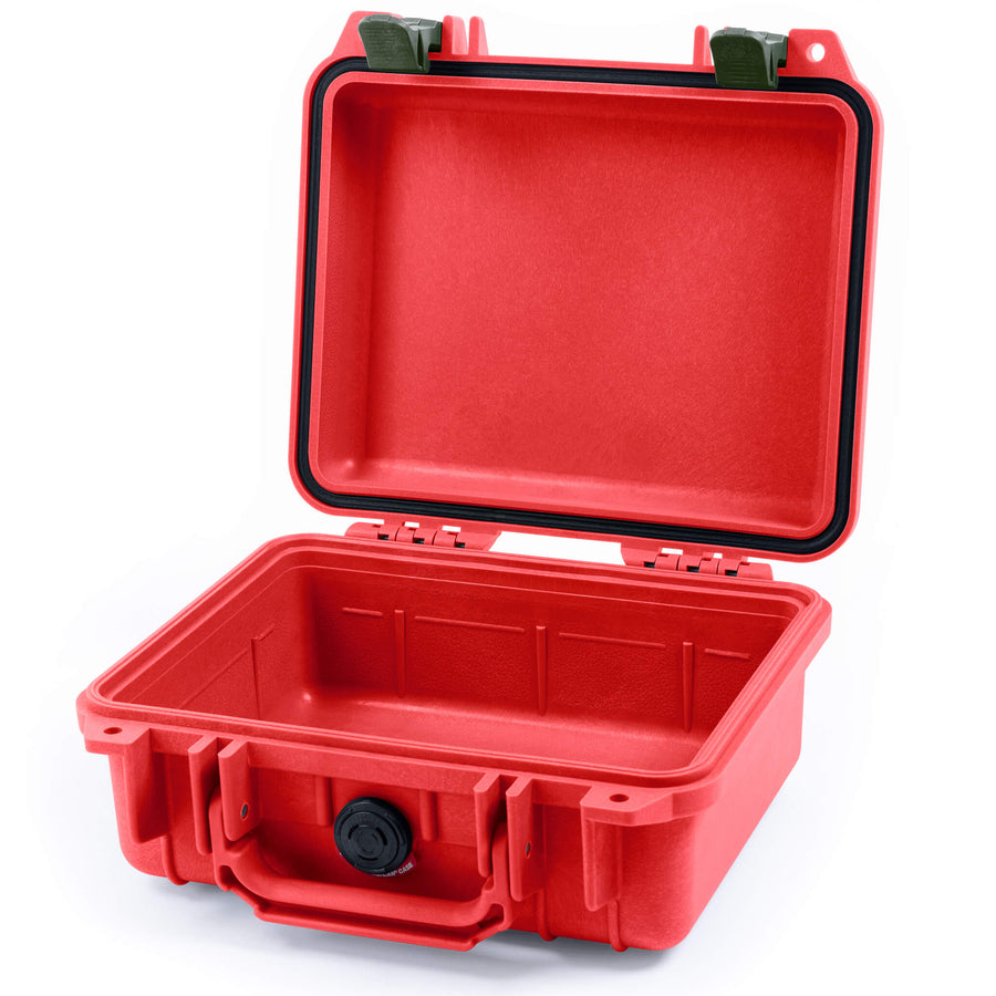 Pelican 1200 Case, Red with OD Green Handle & Latches