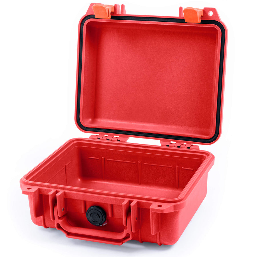 Pelican 1200 Case, Red with Orange Handle & Latches