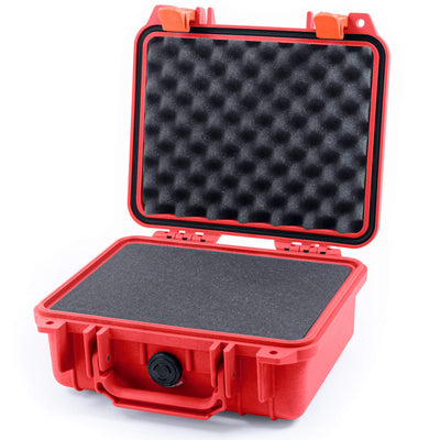 Pelican 1200 Case, Red with Orange Handle & Latches - Pelican Color Case