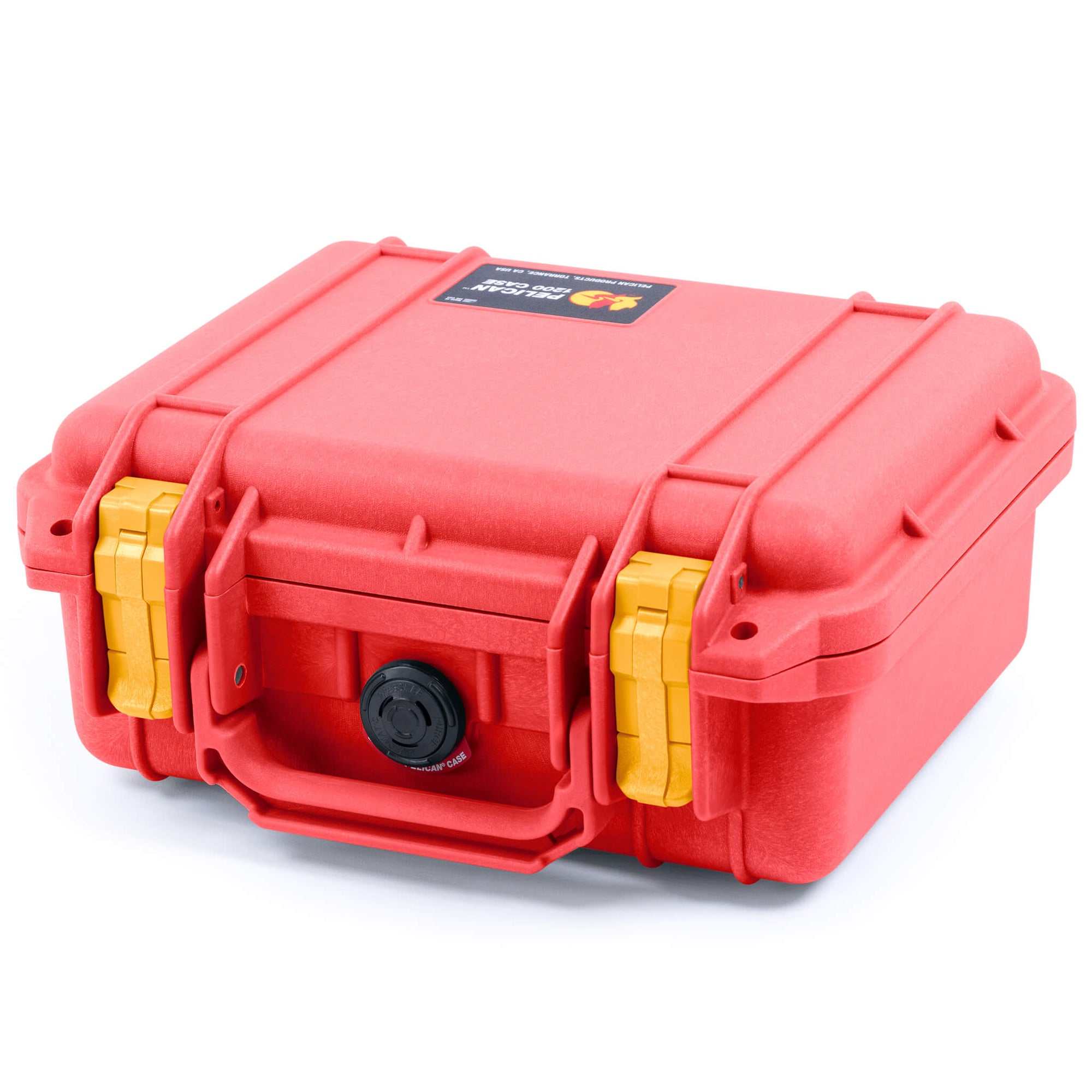 Pelican 1200 Case, Red with Yellow Handle & Latches - Pelican Color Case