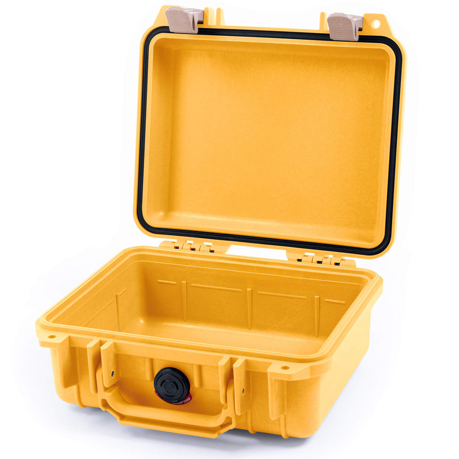 Pelican 1200 Case, Yellow with Desert Tan Handle & Latches