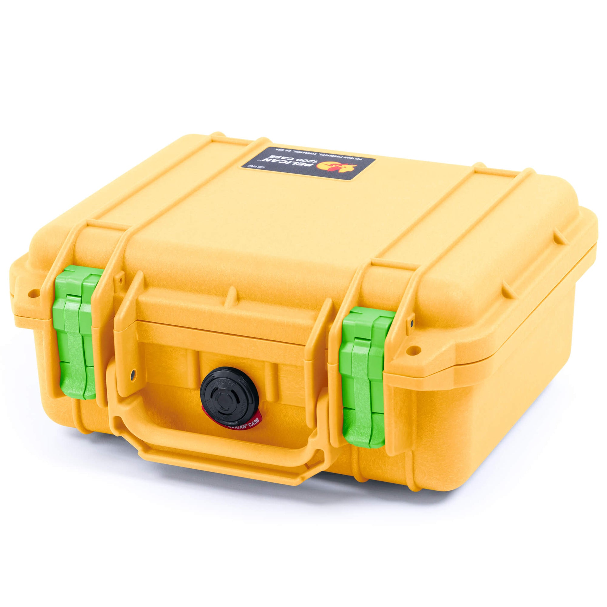 Pelican 1200 Case, Yellow with Lime Green Handle & Latches
