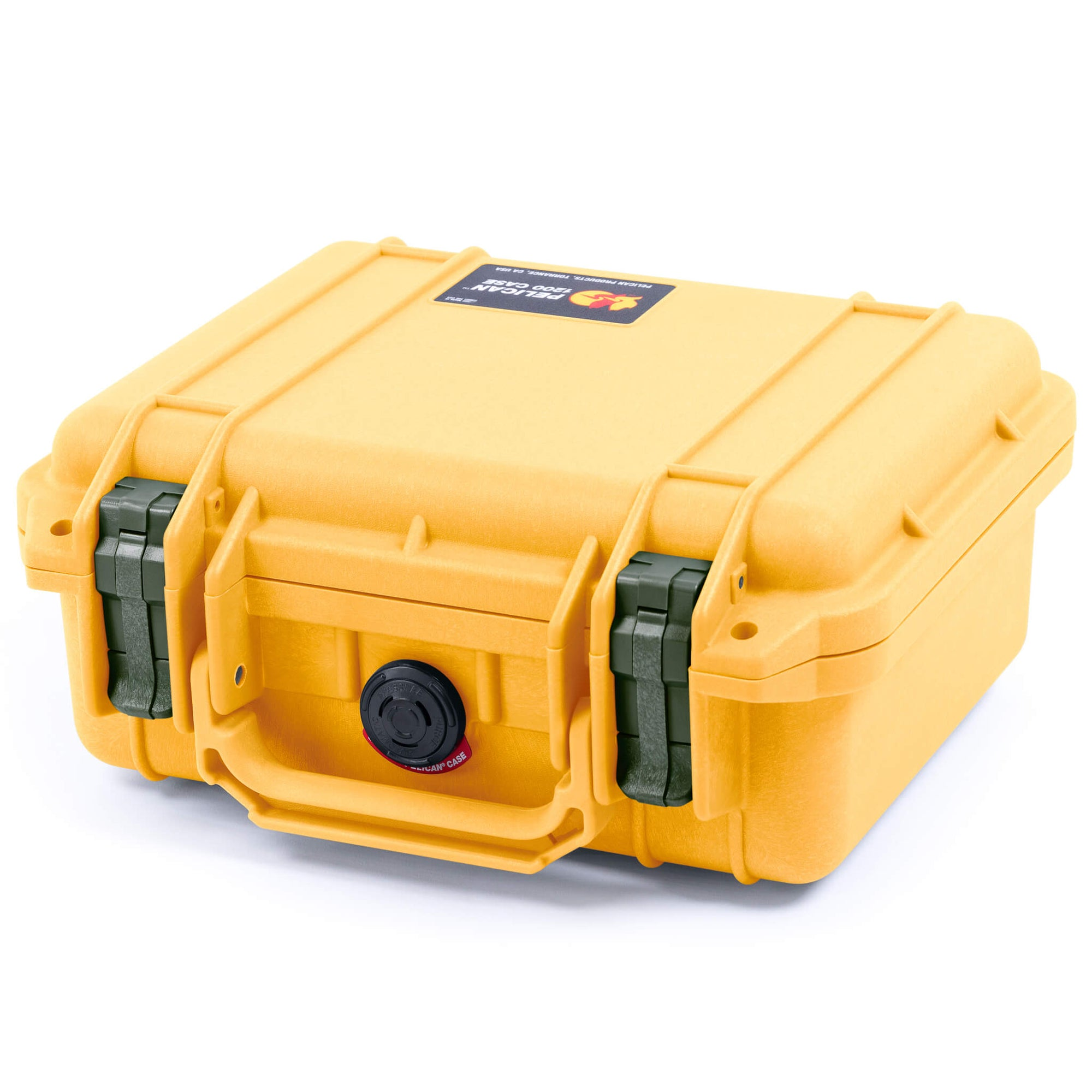 Pelican 1200 Case, Yellow with OD Green Handle & Latches