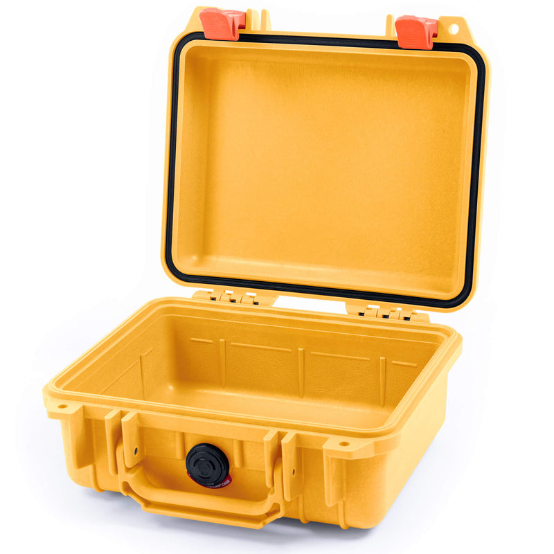 Pelican 1200 Case, Yellow with Orange Handle & Latches