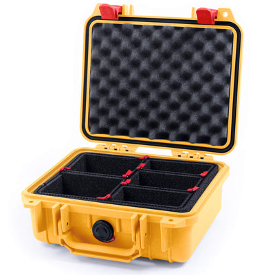 Pelican 1200 Case, Yellow with Red Handle & Latches - Pelican Color Case