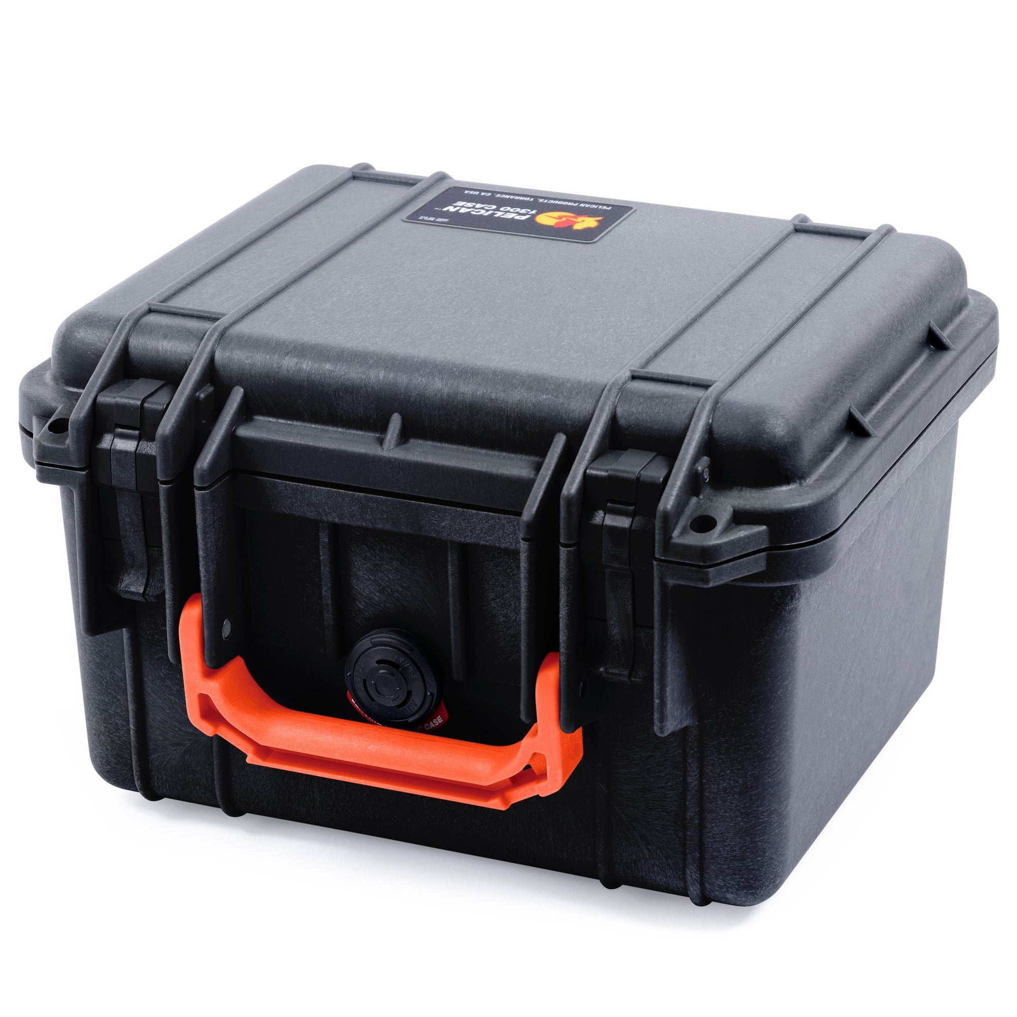 Pelican 1300 Case, Black with Orange Handle - Pelican Color Case