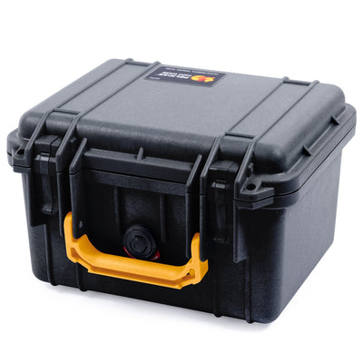 Pelican 1300 Case, Black with Yellow Handle - Pelican Color Case