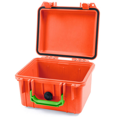 Pelican 1300 Case, Orange with Lime Green Handle - Pelican Color Case
