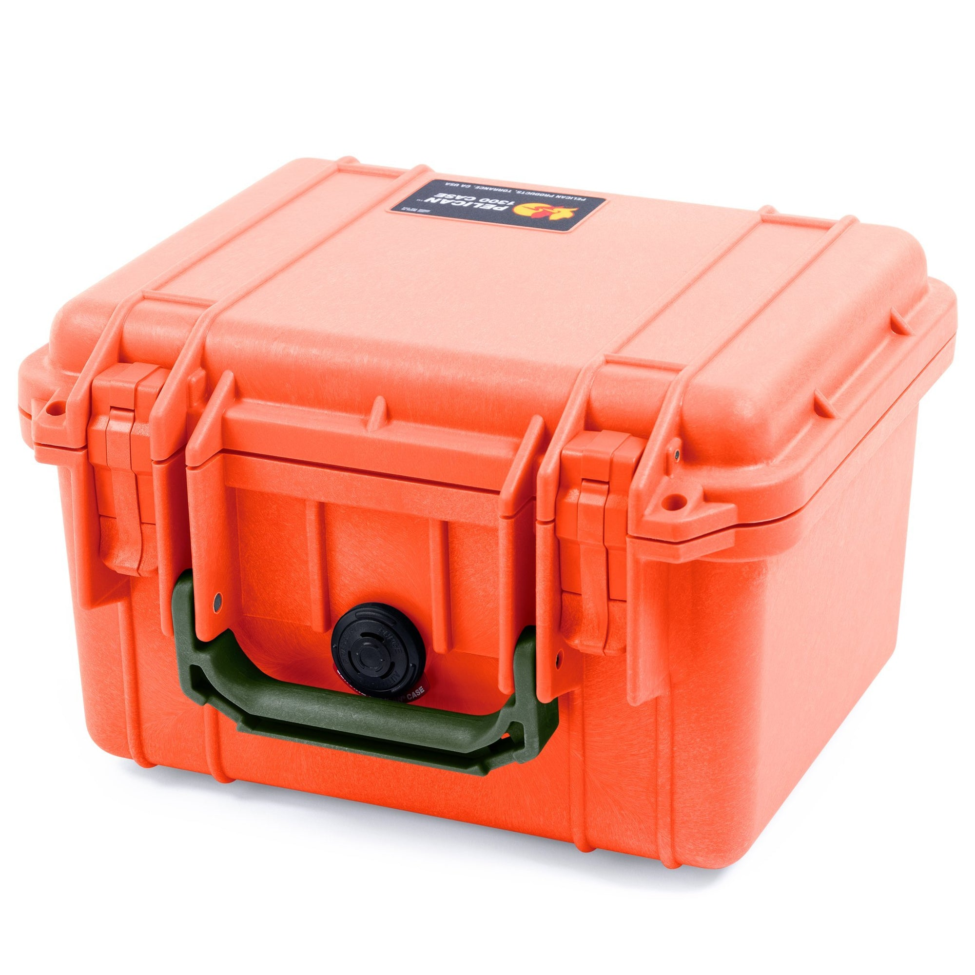 Pelican 1300 Case, Orange with OD Green Handle - Pelican Color Case