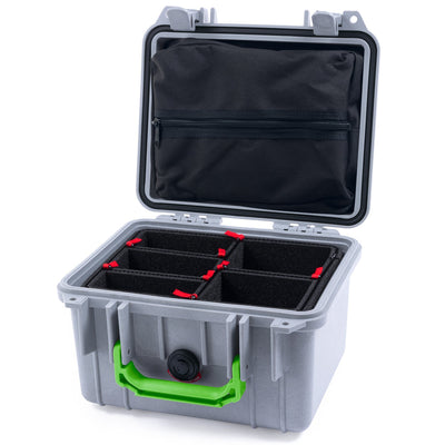 Pelican 1300 Case, Silver with Lime Green Handle - Pelican Color Case