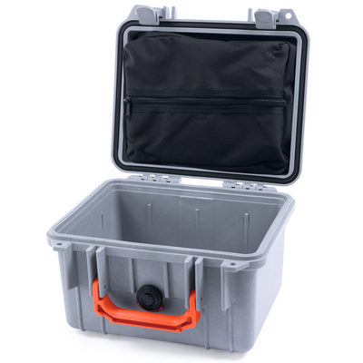 Pelican 1300 Case, Silver with Orange Handle - Pelican Color Case