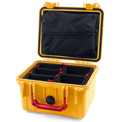 Pelican 1300 Case, Yellow with Red Handle - Pelican Color Case