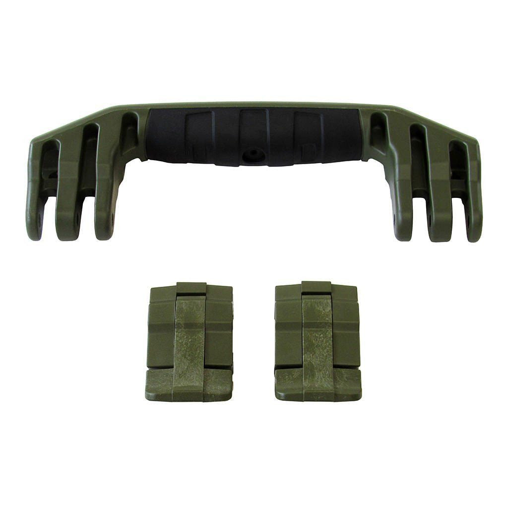 OD Green Replacement Handle & Latches for Pelican 1450, 1500, 1525, or 1535, One OD Green Handle, Two OD Green Latches - Pelican Color Case