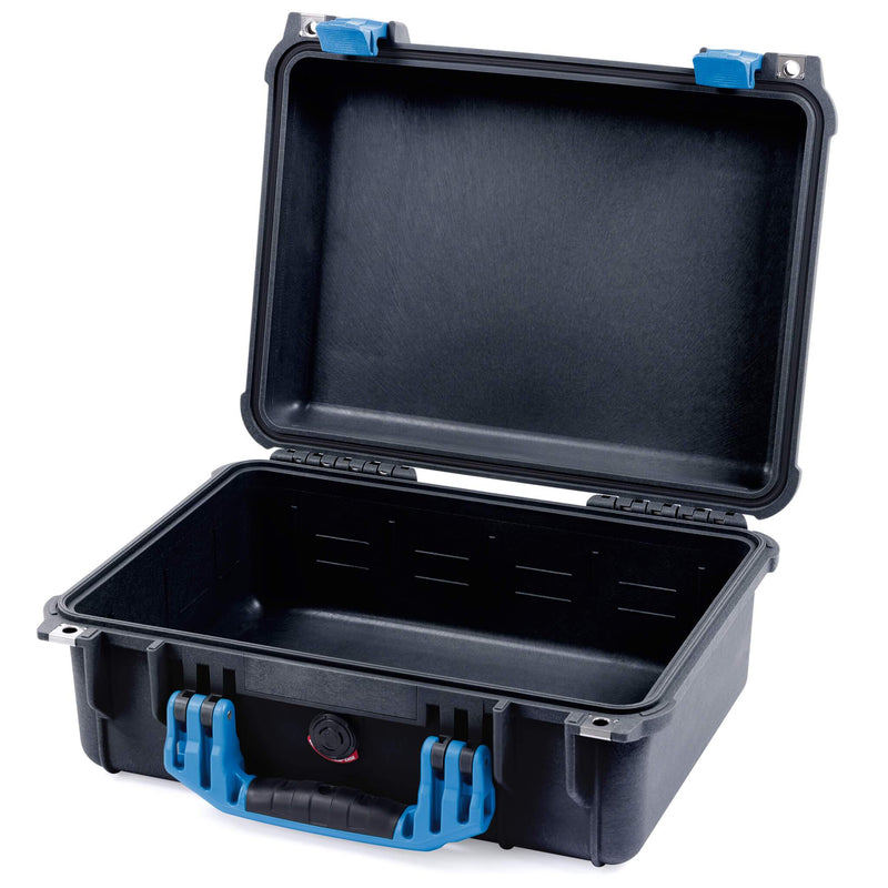 Pelican 1450 Colors Series, Black Protector Case with Blue Handle & Latches, Customizable Accessory Bundles - Pelican Color Case