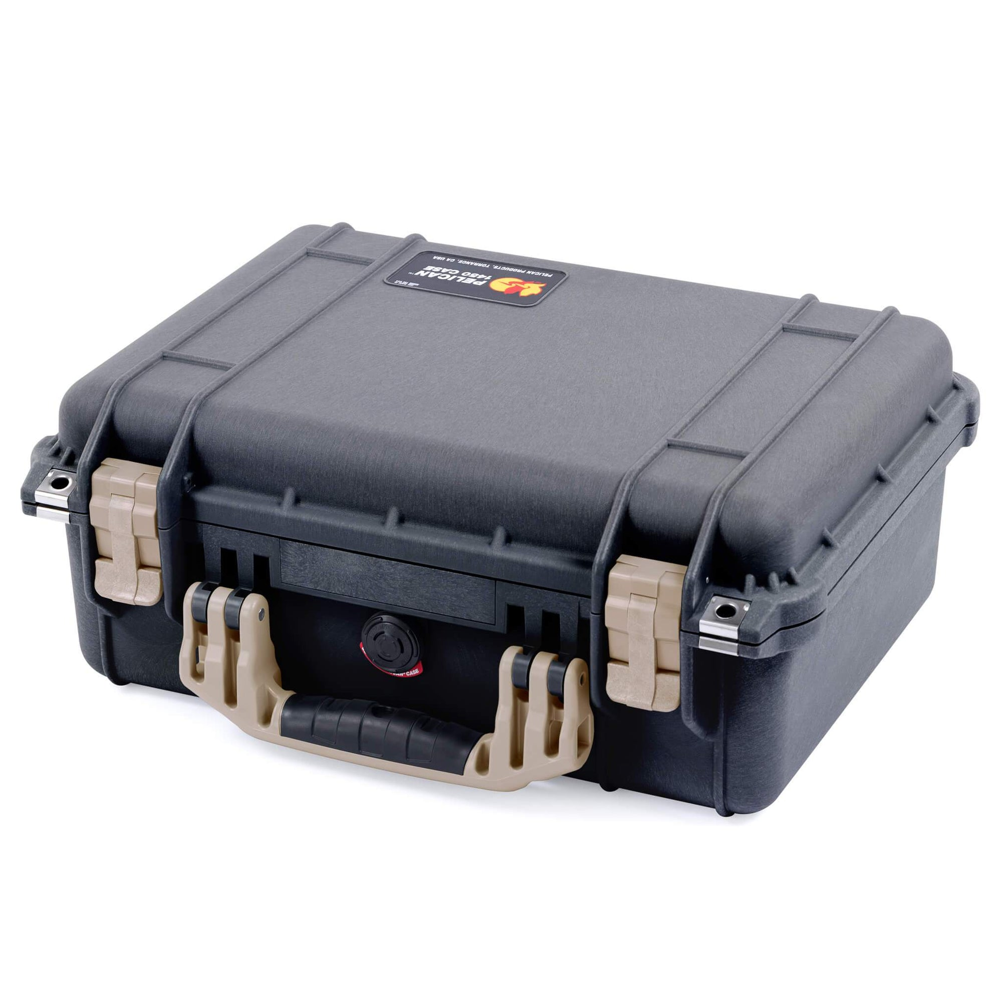 Pelican 1450 Case, Black with Desert Tan Handle & Latches - Pelican Color Case