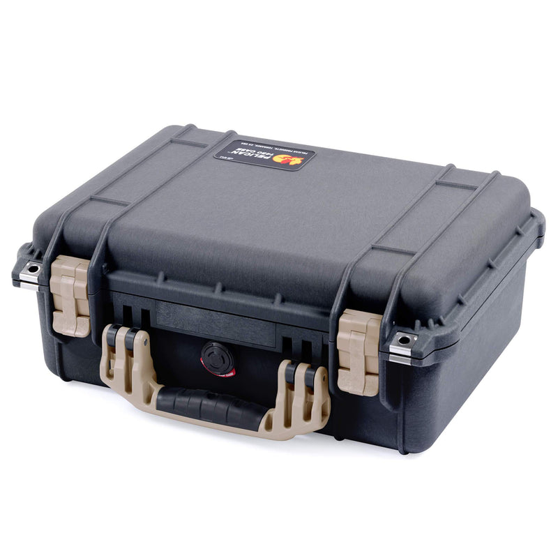 Pelican 1450 Case, Black with Desert Tan Handle & Latches