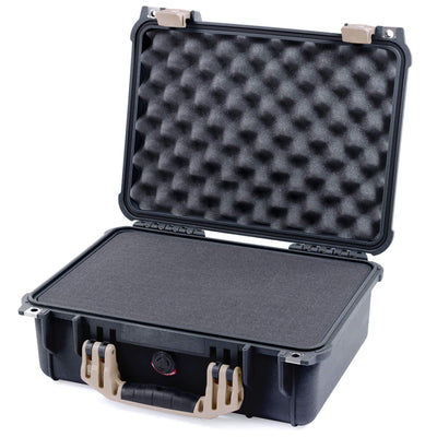 Pelican 1450 Colors Series, Black Protector Case with Desert Tan Handle & Latches, Customizable Accessory Bundles - Pelican Color Case
