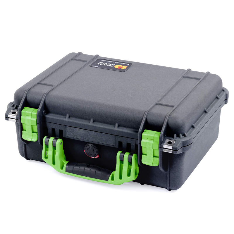 Pelican 1450 Case, Black with Lime Green Handle & Latches