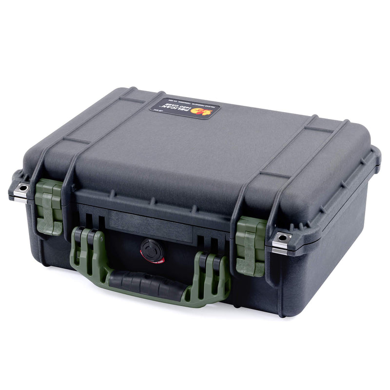 Pelican 1450 Case, Black with OD Green Handle & Latches